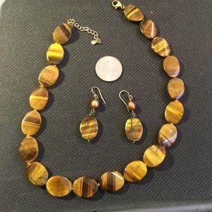 Jewelry - Tiger's Eye Necklace & Earrings