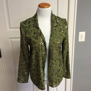 Lucky Brand Jackets & Blazers - Army Green Chiffon and Gold Sequin Cheetah Blazer