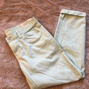 LOFT size 4 mint colored cropped boyfriend jeans