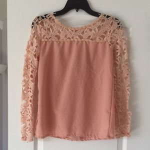 Blush Pink Lace Blouse