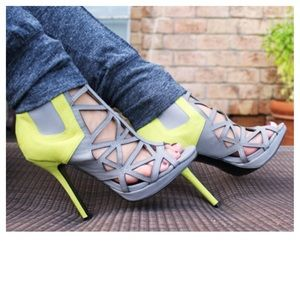 Shoe Dazzle Shoes - Grey & Chartreuse Strappy Heels