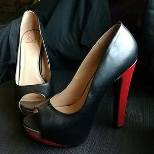 Black, red, nude peep toe heels