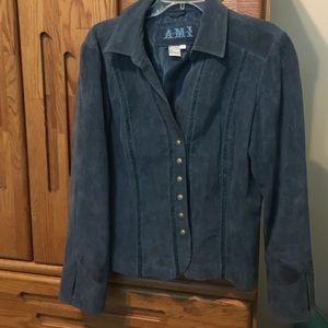 AMI Jackets & Blazers - Blue suede jacket