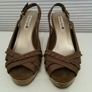 American Eagle by Payless Shoes - American Eagle Brown Slingback Wedge w/ Cork Sole