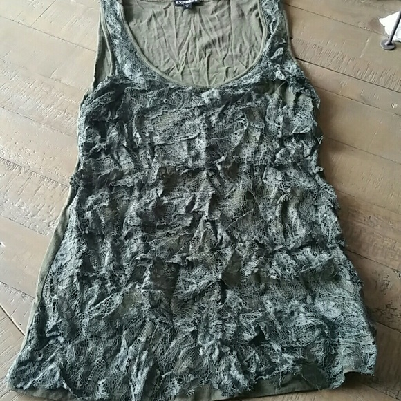Express Tops - Express lacy army green tank
