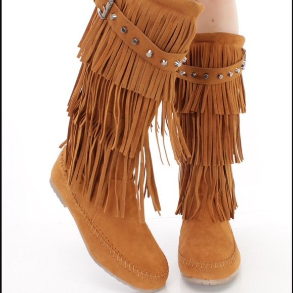 Camel fringe boots 6 from Melissa's closet on Poshmark