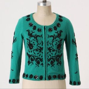 Anthropologie Love Letter Cardigan Sweater beaded