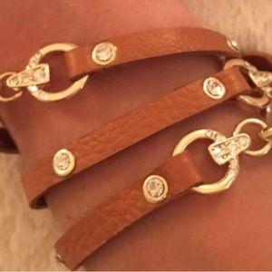 NWT Leather Rhinestone Wrap Bracelet