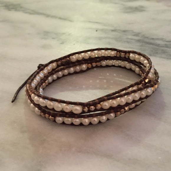 a75586832ca7 Chan Luu Jewelry - Chan Luu Brown Leather, Gold, & Pearl Bracelet
