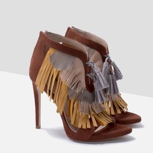 ZARA Tricolor Sandals with Fringe