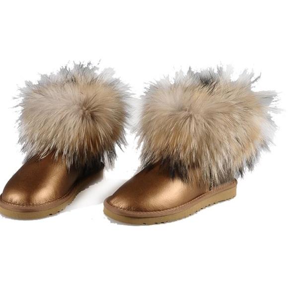 ugg shoes mini fox fur gold metallic poshmark rh poshmark com