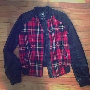 Punk look biker jacket with red tartan print