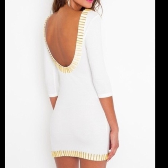 Blaque market  Dresses - White low back dress with gold bars