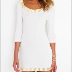 Blaque market  Dresses & Skirts - White low back dress with gold bars