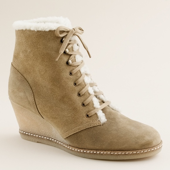 j crew j crew macalister shearling wedge boots from
