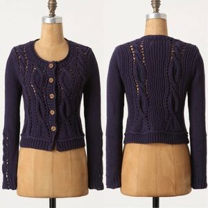 Anthropologie Wavy Cables Cardigan navy blue