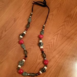 Black red and gray boho style necklace