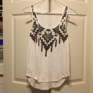 Express white tank top w/ aztec patterned sequins