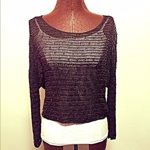 Willow & Clay Tops - Willow & Clay Beaded Crochet Sweater