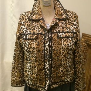 ANAGE Jackets & Blazers - ANAGE leopard motif Jacket w/ Leather braid piping