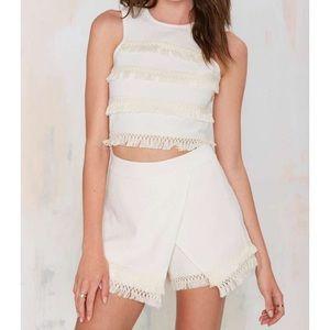 ISO JOA desert drive fringe shorts