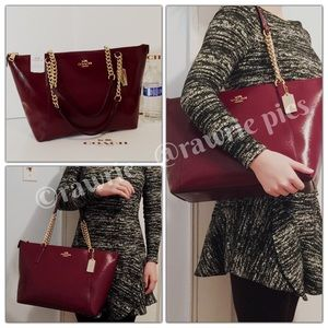 New Coach ava chain tote burgundy patent leather