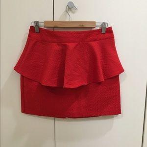 Red Skirt - Peplum Mini