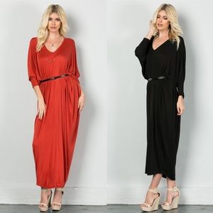 "Bare Anthology Dresses & Skirts - ""Trombone"" Belted Dolman Sleeve Maxi Dress"