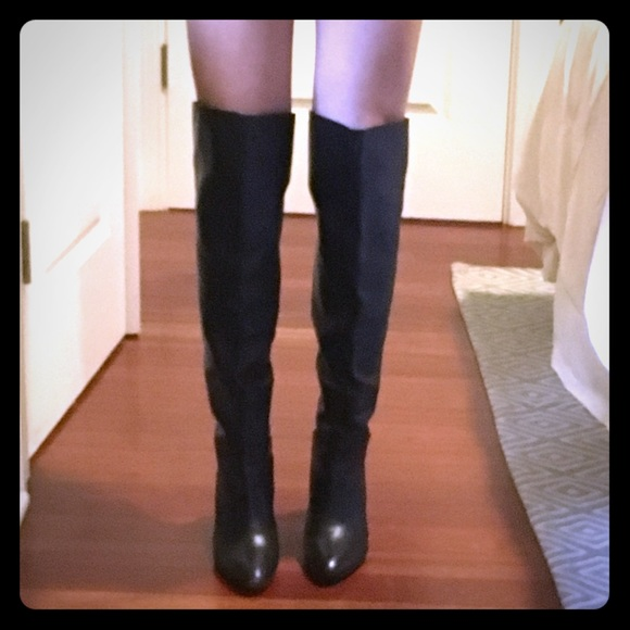 Guess Black Leather Over The Knee Boots