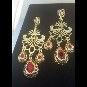 Jewelry - Chandelier Red Stone Earring