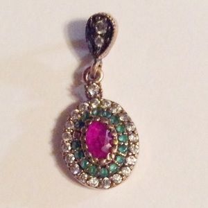 925 Sterling Silver Emerald Ruby Topaz Pendant