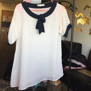 Cream and Navy Top