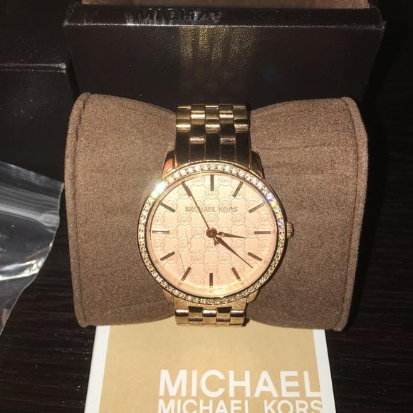 1f1893894c93 Michael Kors Jewelry | Rose Gold Crystal Mk Logo Womens Watch | Poshmark
