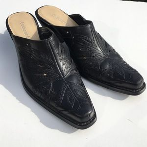 Coldwater Creek Shoes - Black Western Mules Cowgirl Leather 6
