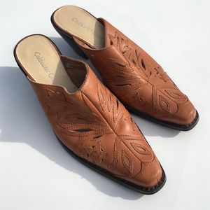 Coldwater Creek Shoes - Brown Western Mules Cowgirl Leather 6