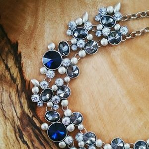 Jewelry - Silver and Blue Glass Collar Necklace