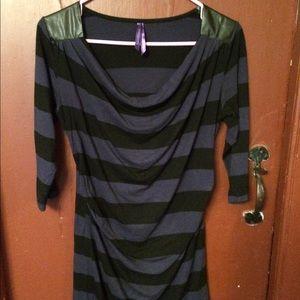 Seraphine Tops - Dark purple and black stripe maternity tunic