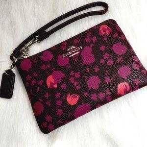 Coach Floral Print Leather Wristlet
