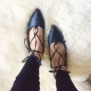 Black lace up flats ballerina