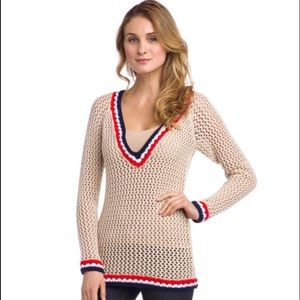 Cute Crochet blue white red sand Sweater Size S