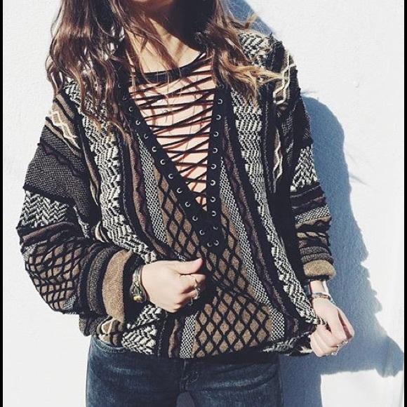 20889687f0 LF Lace Up Sweater