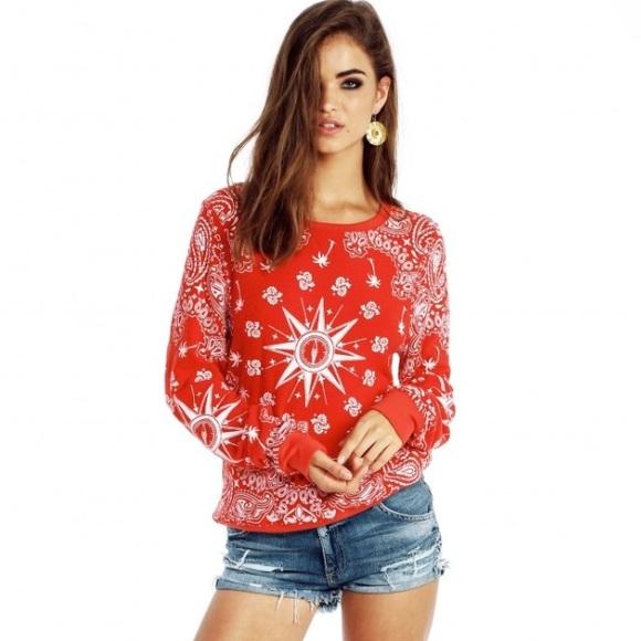 4b249faada Wildfox Sweaters   Wild Fox Red Bandana Baggy Beach Jumper   Poshmark
