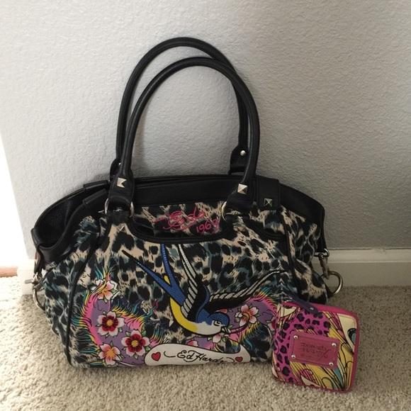 2321fad507 Ed Hardy Handbags - Ed Hardy Purse + Wallet + Dust Bag