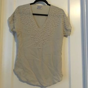 Cream pearl blouse