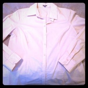 Ann Taylor blush pink button down shirt