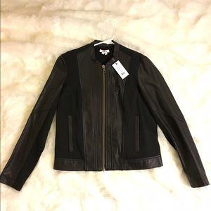 Helmut Lang stretch knit & leather jacket
