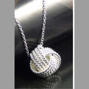 Silver Mesh Knot Necklace