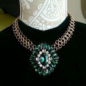 Emerald Gem Statement Necklace