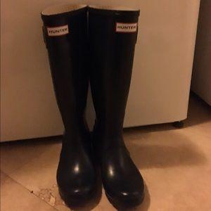 Hunter Tall Navy Rain Boots