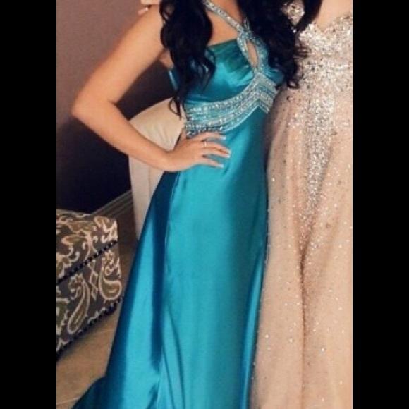 Dresses Bright Blue Backless Prom Dress With Hidden Slit Poshmark